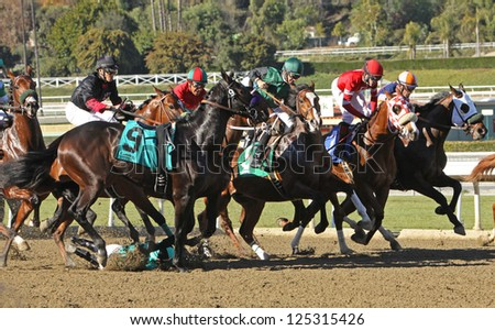 "ARCADIA, CA - JAN 17: Jockey Agapito Delgadillo  (#9) is unseated by ""Harlington Night"" at the start of a maiden race at Santa Anita Park on Jan 17, 2013 in Arcadia, CA. Horse and rider were unhurt. - stock photo"