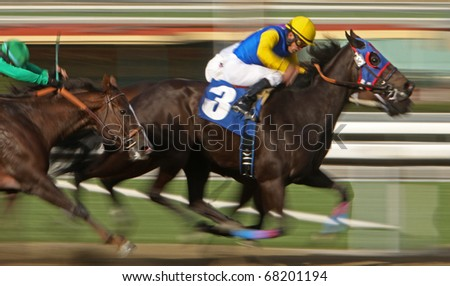 ARCADIA, CA - JAN 1: Jockey Antonio Castanon guides Miss Peanut (#3) to a second-place finish in a claiming race at Santa Anita Park on Jan 1, 2011 in Arcadia, CA.