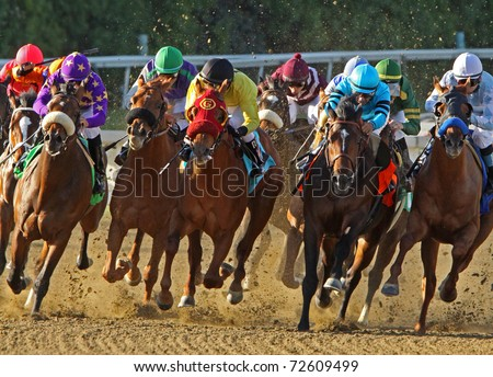 "ARCADIA, CA - MAR 5: Jockeys storm down the homestretch in a maiden race at Santa Anita Park on Mar 5, 2011 in Arcadia, CA. Eventual winner is ""Tiz a Budman"" (Joel Rosario up, center, burgundy cap). - stock photo"