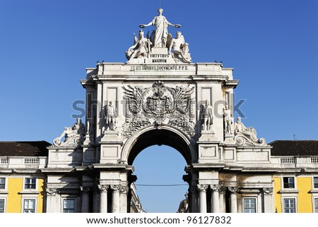 arch at commerce square at Lisbon, Portugal - stock photo
