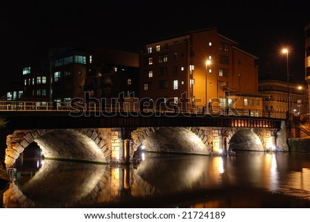 Arch Bridge at Night; Bristol, England