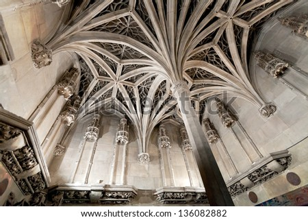 arch ceiling of french medieval chapel - stock photo