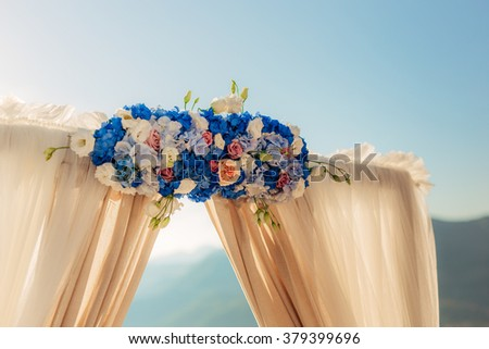 Arch for the wedding ceremony on the sea - stock photo