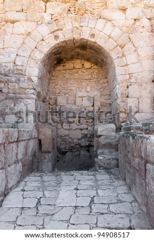 Arch in Crusader Church, Bet Guvrin, Israel - stock photo