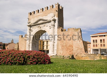 Arch of Augustus in Rimini. Built in 27 BC, it is the most ancient roman arch that still stands intact. The Ghibellines merlons at the top of the arch were built in the Middle Ages.