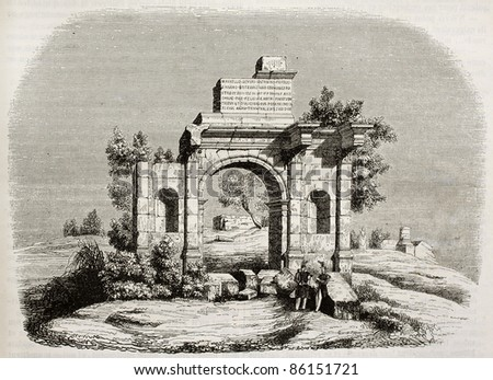 Arch of Caracalla at Djemila, Algeria. By unidentified author, published on Magasin Pittoresque, Paris, 1843