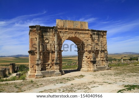 Arch of Caracalla in Volubilis, Morocco .