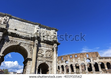 Arch of Constantine and Colosseum in Rome, Italy - stock photo