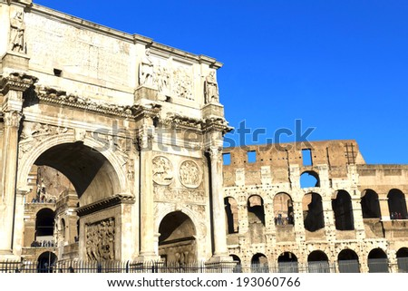 Arch of Constantine (Arco di Costantino), a triumphal arch in Rome, located between the Colosseum and the Palatine Hill - stock photo