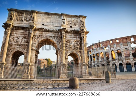Arch of Constantine is a triumphal arch in Rome, situated between the Colosseum and the Palatine Hill.  - stock photo