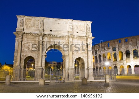 Arch of Constantine or Arco di Costantino, a triumphal arch in Rome. It was erected by the Roman Senate to commemorate Constantine I's victory over Maxentius at the Battle of Milvian Bridge on 312. - stock photo