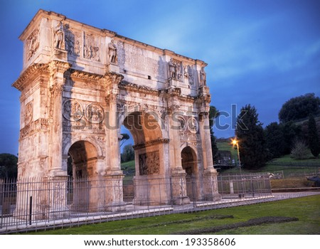 Arch of Costantine in Rome at dusk - stock photo