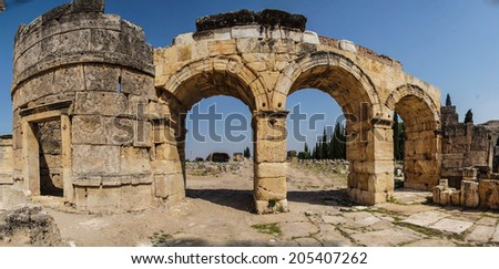 Arch of Domitian, at start of colonnaded street in Hierapolis, Turkey