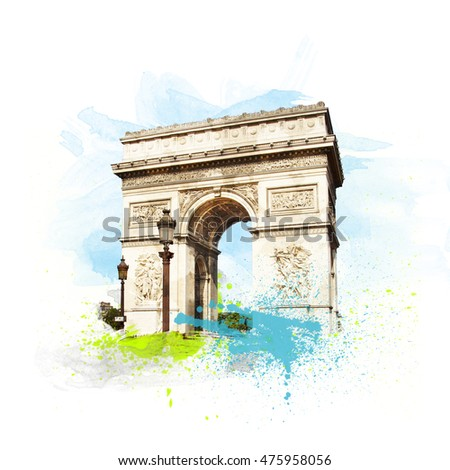 Arch of Triumph (Arc de Triomphe), Paris, France. Art with brushes and watercolors.