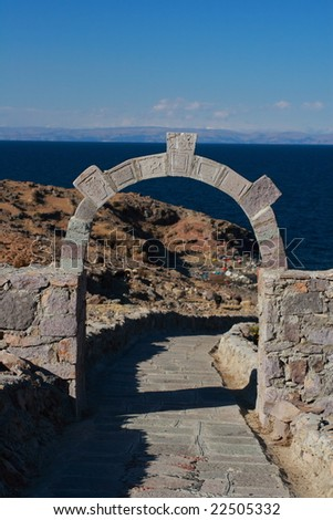 Arch on Isla Amantani - stock photo