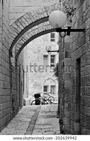 Arch on the jerusalem street - Israel (black and white) - stock photo
