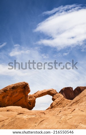 Arch rock formation in Valley of Fire State Park, Nevada, USA - stock photo