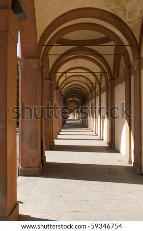 arch san luca in bologna in early morning light