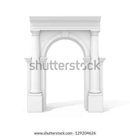 Arch with columns isolated on white background - stock photo