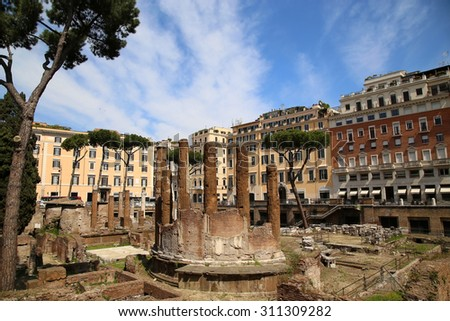 archaeological area of Largo di Torre Argentina in Rome, Italy - stock photo