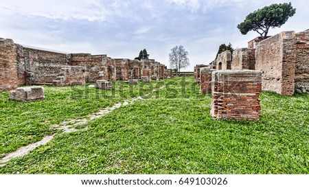 Archaeological Roman site panorama in Ostia Antica - Rome - Italy