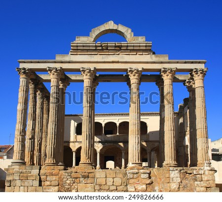 Archaeological ruins of the Roman Temple of Diana - 1Bc, Merida, Extremadura, Spain. UNESCO World Heritage site. - stock photo
