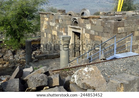 Archaeological site Mother of the Arches or Umm el Kanatir in Golan Heights, Israel - stock photo