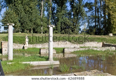 Archaeological site of ancient Dion of Katerini city in north Greece Temple of Isis - stock photo