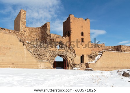 Archaeological Site of Ani Ruins on UNESCO World Heritage List. Kars Turkey ,February 2017.