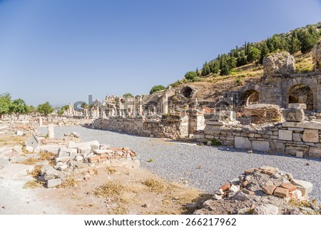 Archaeological site of Ephesus, Turkey. The ruins of the baths, the Basilica and the Odeon, the Roman period - stock photo