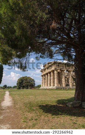 Archaeological  site of Paestum , Temple of Neptune . Italy - stock photo