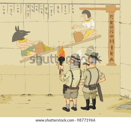 Archaeologists studying an ancient egyptian wall paintings - stock photo