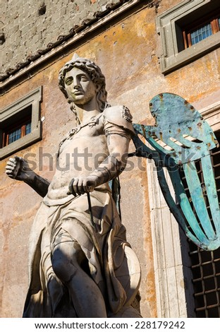 Archangel Michael statue by Raffaello da Montelupo in Castel Sant'Angelo, Rome, Italy - stock photo