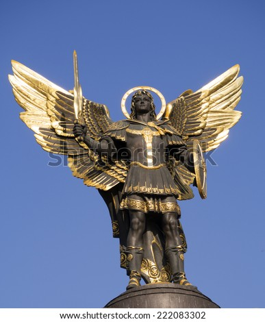 Archangel  St. Michael statue in Independence Square. - stock photo