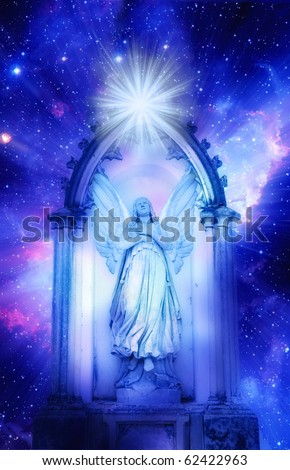 archangel standing in a gate over starry universe with a rays of light - stock photo