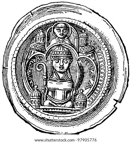 """Archbishop Wichmann of Magdeburg bracteate, 1122 - 1192 - an illustration to articke """"Coins"""" of the encyclopedia publishers Education, St. Petersburg, Russian Empire, 1896 - stock photo"""