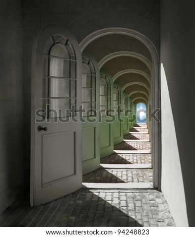 Arched doorways opening into infinity - stock photo