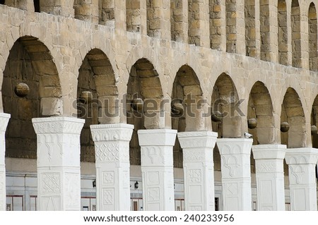 Arched Pillars - Umayyad Mosque - Damascus - Syria (Before Civil War) - stock photo