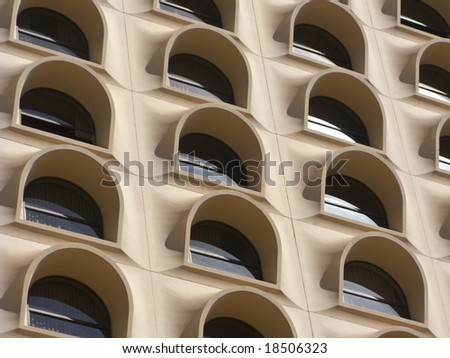 Arched Windows of Modern Skyscraper in Phoenix Downtown, Arizona - stock photo