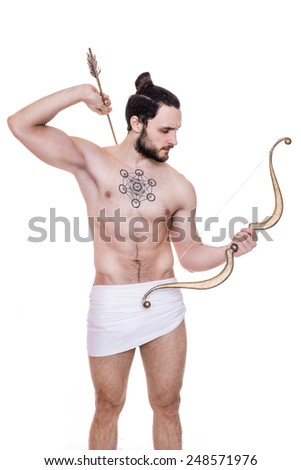 Archer. Cupid, Valentine, Antiquity, Greece. Studio portrait isolated over white background - stock photo
