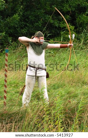 Archer shooting arrows at targets