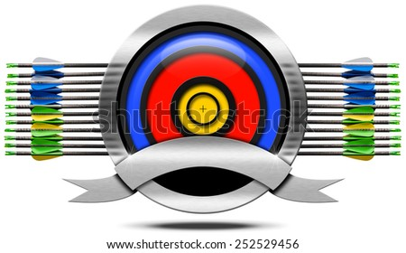 Archery Metal Icon. Archery icon with blue, red and yellow target, a set of arrows, empty metallic ribbon, isolated on white background - stock photo