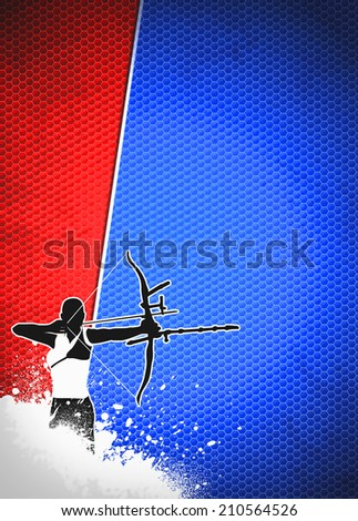 Archery sport invitation advert background with empty space