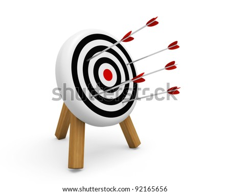 Archery target hit with arrows