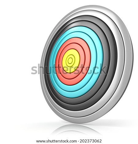Archery target, isolated on white background. Side view - stock photo