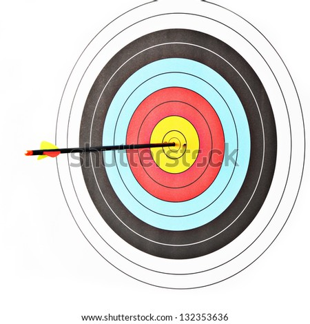 Archery target with arrow on white background - stock photo