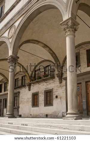 arches at old building in Florence Tuscany Italy - stock photo