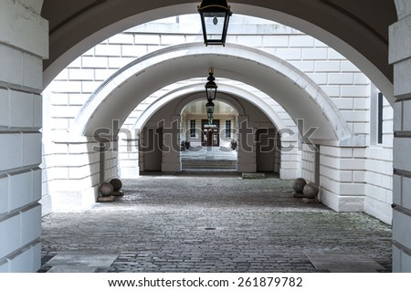 Arches at the Queen's House in Greenwich, London England. - stock photo