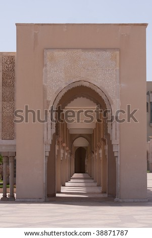 Arches in a Mosque in Casablanca (Morocco) - stock photo