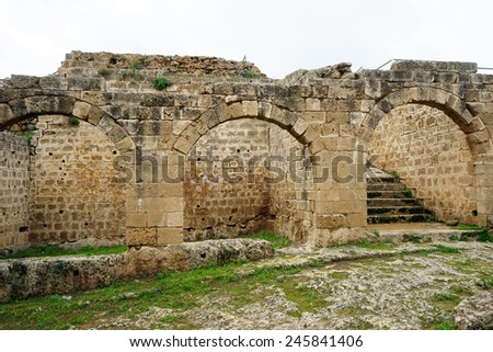 Arches in fortress in Famagusta, North Cyprus                                - stock photo
